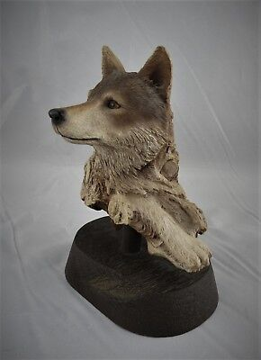 """""""WAITING WOLF"""" Fine Art Sculpture by Rick Cain  L/E 1991/2000  HARD TO FIND"""