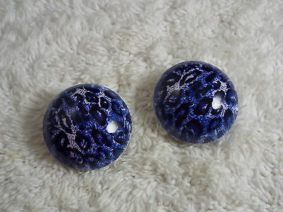 Blue White Cheetah Button Clip-on Earrings  (C58)
