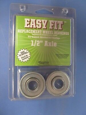 "Easy Fit Replacement Wheel Bearings Fits 1/2"" Axle  Package of 2 #60020  NEW"