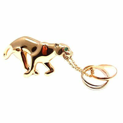 Rare! Authentic Cartier Panther 18k Yellow Gold Emerald Trinity Pin Brooch