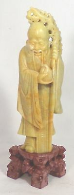 Vintage Chinese Carved Soapstone Immortal Man w/Peach and Staff Statue