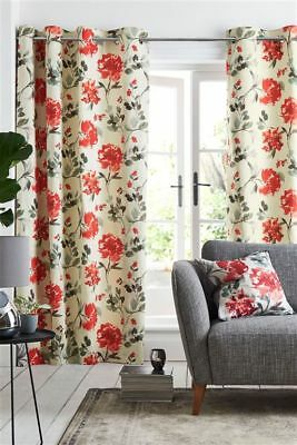 NEW NEXT CREAM RED FLOWER WATERCOLOUR FLOURISH EYELET LINED CURTAINS 168 X 229