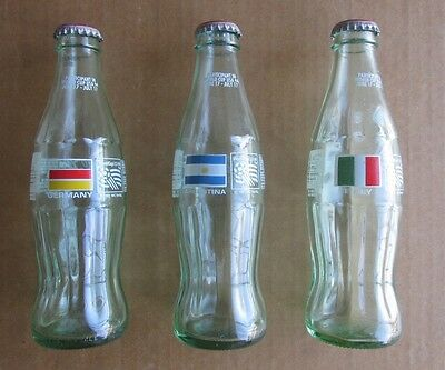 Lot 3 1994 Usa World Cup Soccer Germany Italy Argentina Collectible 8 Oz Bottles