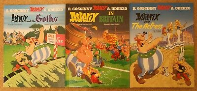 Goscinny & Uderzo - 3 x Asterix hbs (The Actress/The Goths/In Britain) VGC+
