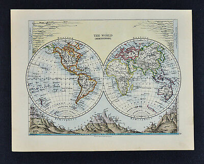 1895 Johnston Map - World in Hemispheres - Principal Mountain Heights & Rivers