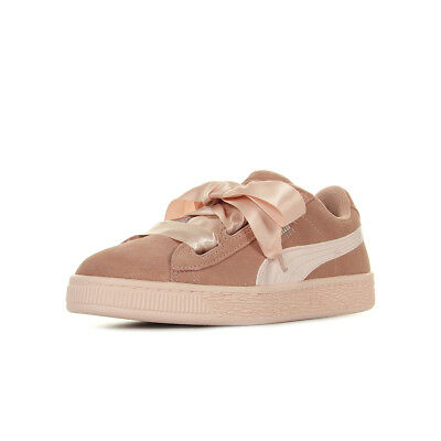 8ae3885b16a Chaussures Baskets Puma fille Suede Heart Jewel V PS taille Rose Cuir Lacets