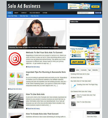 Solo Ads Tips Website &  Advice Store With Affiliates & Domain + Free Hosting