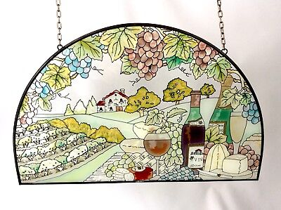 Leaded Stained Glass Wall Hanging Vineyards California Wine Vines Grapes