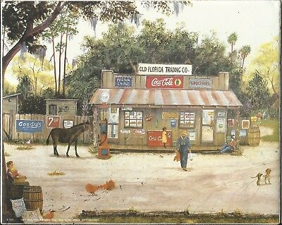 1997 Coca Cola Art Mip Sealed Old Florida Trading Co. Donkey Dog Old Store Moss