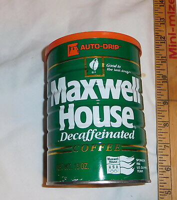 vintage Maxwell House Decaffeinated Coffee Tin Can 13 Oz Lid EMPTY