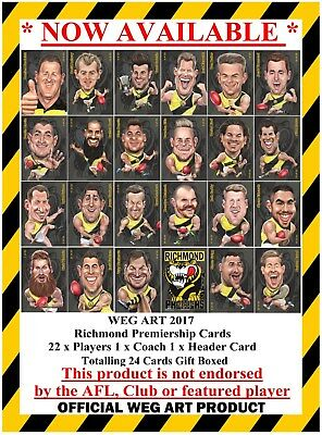 Richmond 2017 Premiership Weg Art Cards FREE POST IN AUSTRALIA