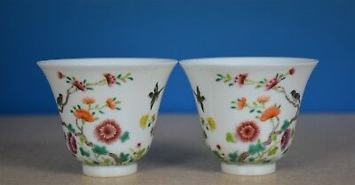 Superb Pair Of Antique Chinese Famille Rose Porcelain Cups Marked Yongzheng A799