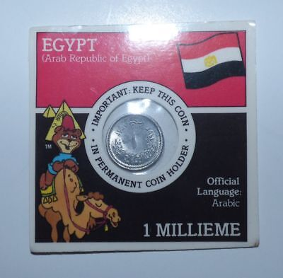 Super Sugar Crisp - Coins of the World, Egypt Millieme Coin. Free shipping.