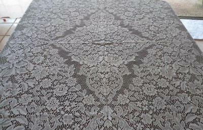 Vintage Nottingham Lace Tablecloth Art Deco Floral Ivory 66""