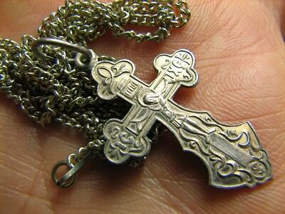CRUCIFIXION SAVE & PROTECT PRAYER OLD VINTAGE STERLING SILVER CROSS w CHAIN #268