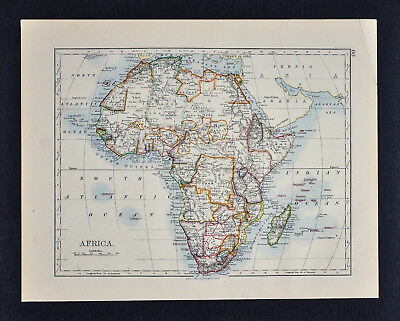 1895 Johnston Map - Africa - Guinea Congo Soudan Egypt Sahara Cape Colony South