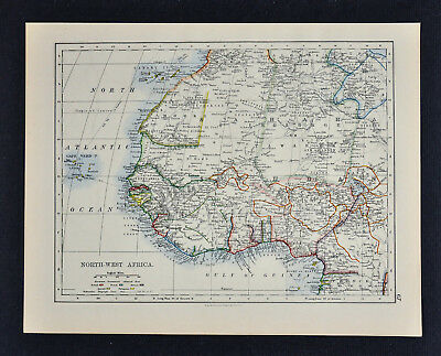 1895 Johnston Map - Colonial NW Africa & West Africa Guinea Congo Angola Liberia