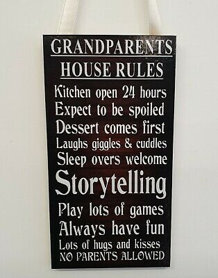 GRANDPARENTS HOUSE RULES Funny - Wall/Door MDF Plaque - Small