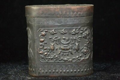 Collectible Handwork Tibet Silver figure Old Toothpick Tobacco Box chinese