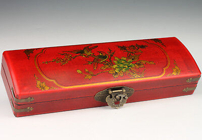 Long Red Leather Jewelry Box Necklace Painting Flower Gift Old Collectable