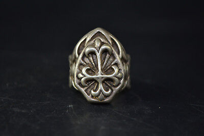 Vintage Collectible handwork Old Tibet Silver carve cross chinese totem Ring