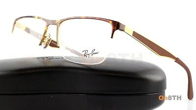 New Authentic Ray Ban RB 6335 2917 Gold & Brown Eyeglasses Semi Rim 54mm