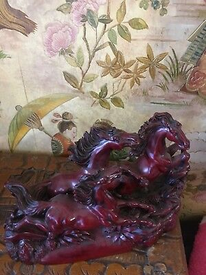 "Vintage Chinese 3 Galloping Wild Horses Heavy Red Resin Sculpture 8"" by 7"""