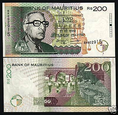 Mauritius 200 Rupees P45 1998 Justice Unc Scale *error* Series Currency Banknote