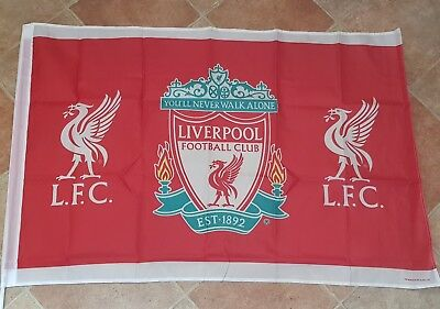 Liverpool Official Club Crest Flag - Red Flag with 2 Liverbirds - 5 x 3