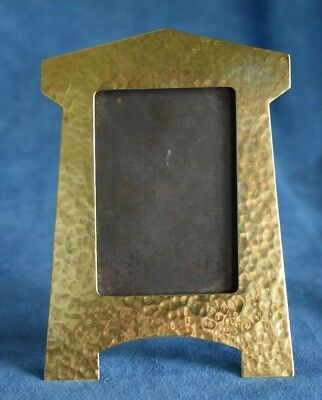 True Antique Hand Hammered ARTS & CRAFTS Brass Mission Picture Photo Frame
