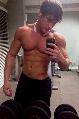 Shirtless Male Muscular Fitness Gym Jock Blond Pumped 18 Year Old PHOTO 4X6 D259