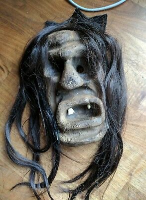 Rare Lotschentaler Hand Carved Wood Witch Mask Real Hair & Teeth Swiss Folk Art