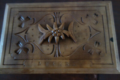 vintage carved box with brush