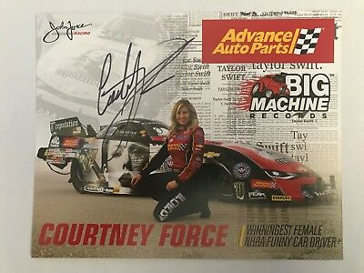 Autographed Courtney Force Advance Auto Parts 2017 NHRA Signed  Hero Card