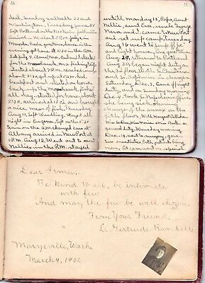 1900-11 Handwritten Album & Diary St Vincents Hospital Portland OR Marysville WA