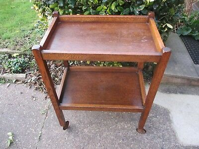 Lovely Old Vintage Antique Hardwood (Possible Oak) Wooden Trolley Table