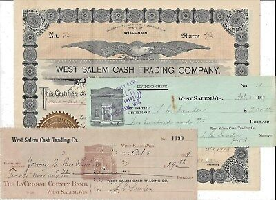 Stk-West Salem Cash Trading Co. 1910 Wisconsin + 2 Checks  General Store