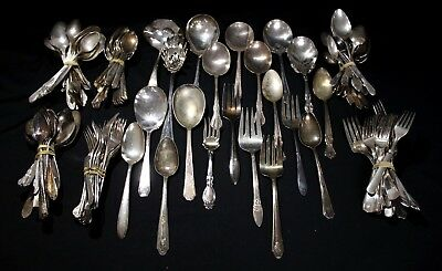 Lot (140) Silver Plated Antique/ Vintage Mixed Silverware Crafts & Art (13lbs)