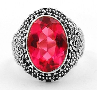 8CT Rubellite Tourmaline 925 Solid Sterling Silver Ring Jewelry Sz 5.5