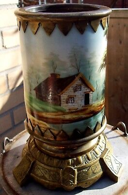 "9.5"" Gothic Bohemian Painted Landscape Porcelain Bronze Footed Vase C.1860"