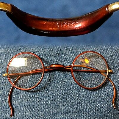 Vintage 1920s 1930s brown cable temple windsor bridge round eyeglasses glasses