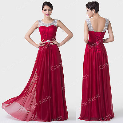 Long chiffon Prom Dresses Evening Ball Formal Party Gown Bridesmaid GORGEOU