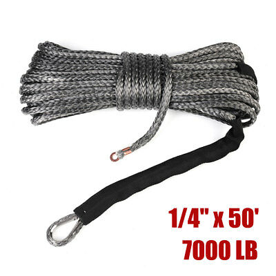 GREY Synthetic Winch Rope Line Cable 1/4'' x 50' 7000 LB w/ Rock Guard For ATV