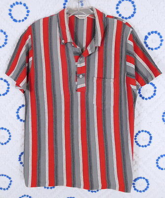 Vintage 1950s 50s Mens Campus Red Stripe Pullover Shirt M