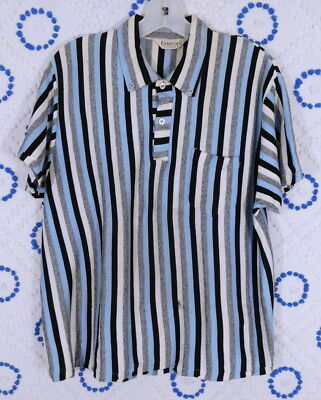 Vintage 1950s 50s Campus Mens Striped Rockabilly Pull Over Shirt S