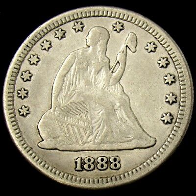 1888-S Seated Liberty Quarter - XF Details - Great Shield & Feather Detail