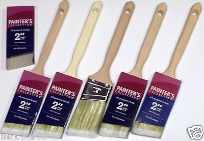 """NEW 5 Paint Brush Lot,2"""" Inch Angle Sash Painters Polyester Brushes,Wood handles"""