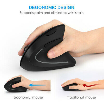 Wireless Vertical Ergonomic Working USB Optical Mouse 1600 DPI 6 Buttons For PC