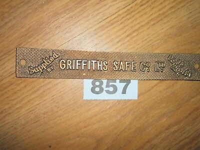 VINTAGE BRASS SAFE DOOR PLAQUE    Griffiths safe co ltd