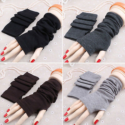Lady Stretchy Soft Striped Wrist Arm Warmers Long Fingerless Gloves Mittens New
